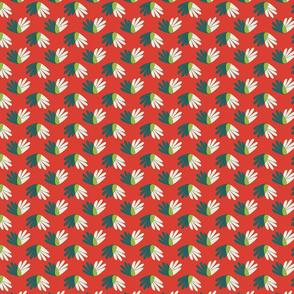 green-cream beach plants on red
