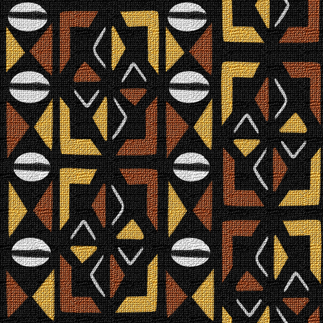 Mudcloth Inspired Cowrie Shells and Playing Cards fabric by eclectic_house on Spoonflower - custom fabric