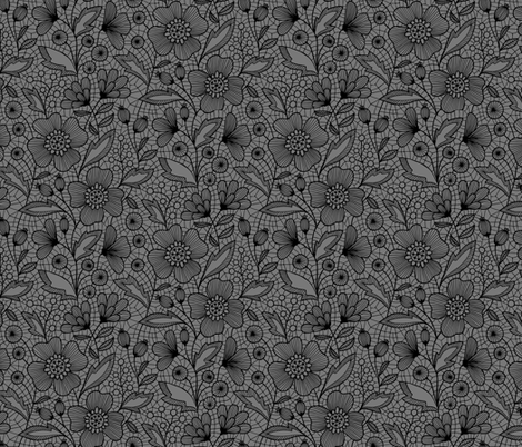 Floral lace (black on gray) fabric by heleen_vd_thillart on Spoonflower - custom fabric