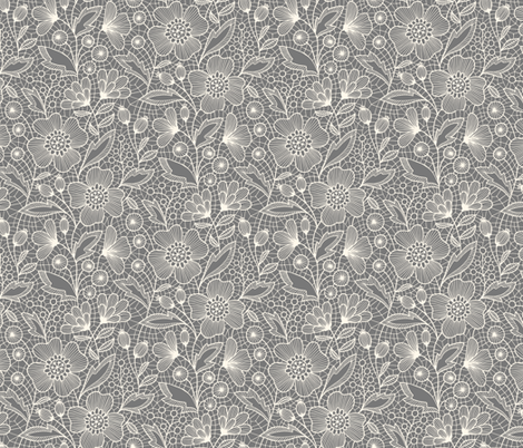 Floral lace (off-white on gray) fabric by heleen_vd_thillart on Spoonflower - custom fabric