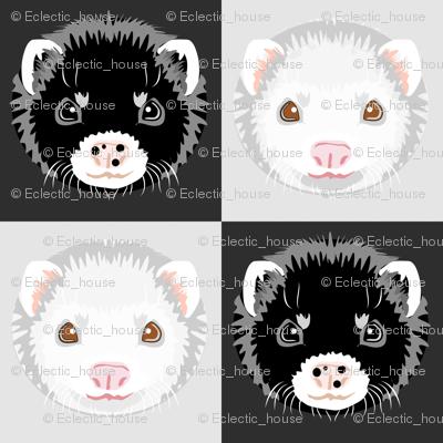 Black and White Ferret Checkerboard