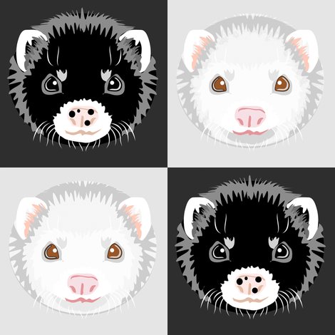 Black and White Ferret Checkerboard fabric by eclectic_house on Spoonflower - custom fabric