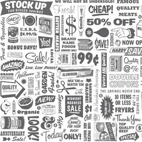 Stock Up!* (Pepper Pot) || text typography store market grocery supermarket sale food vintage retro low volume