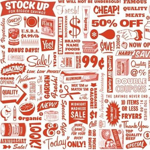 Stock Up!* (Tomato Soup) || text typography store market grocery supermarket sale food vintage retro