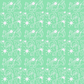 You Are My Sunshine Elephants in Mint and White