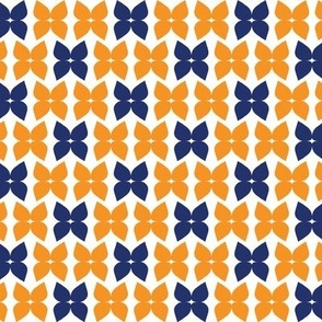 Flower bows orange & blue