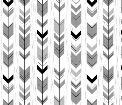 tribal arrows // Black, white and grey fabric by buckwoodsdesignco on Spoonflower - custom fabric