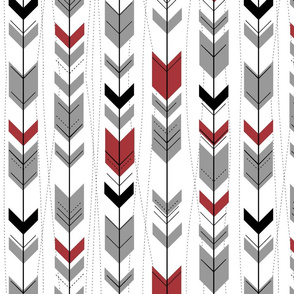 tribal arrows // Black, scarlet & grey