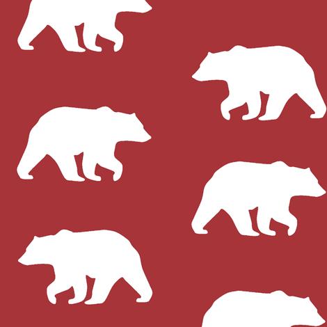 Bear Hike // Lumberjack - scarlet fabric by buckwoodsdesignco on Spoonflower - custom fabric