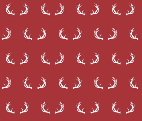 antlers // Lumberjack - scarlet fabric by buckwoodsdesignco on Spoonflower - custom fabric