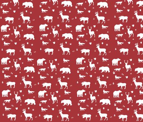 woodland animals // lumberjack fabric by buckwoodsdesignco on Spoonflower - custom fabric