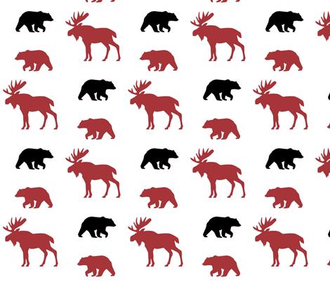 Moose & Bears // Lumberjack too fabric by buckwoodsdesignco on Spoonflower - custom fabric