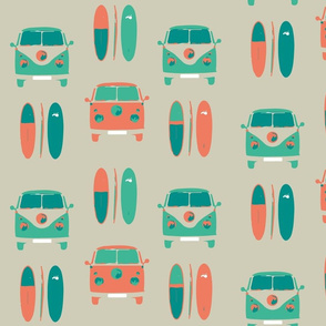 retro, vintage, camper vans and surf boards