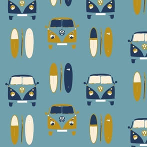 Retro, vintage VW camper vans and surf boards col 6