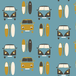 Retro, vintage, camper vans and surf boards col 7