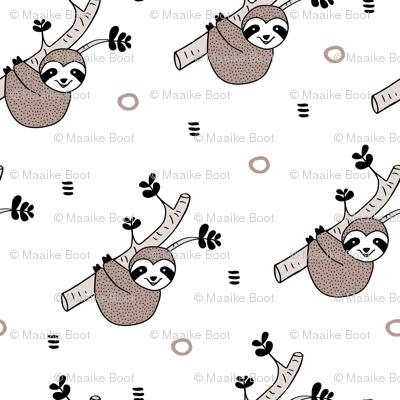 Sweet sloths cute rainforest inspired sloth design tree print gender neutral beige