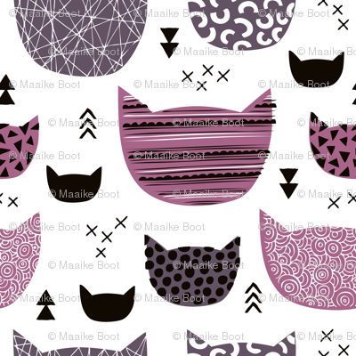 Inky texture kittens and cats fun print with geometric abstract details winter pink girls