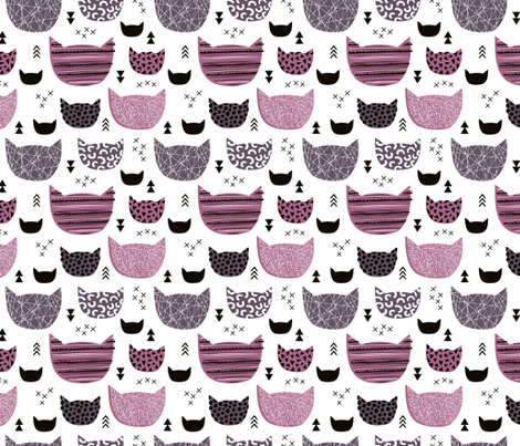 Inky texture kittens and cats fun print with geometric abstract details winter pink girls fabric by littlesmilemakers on Spoonflower - custom fabric