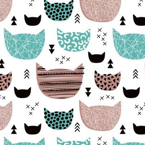 Inky texture kittens and cats fun print with geometric abstract details mint beige