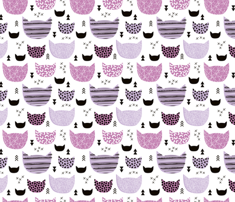 Inky texture kittens and cats fun print with geometric abstract details violet girls fabric by littlesmilemakers on Spoonflower - custom fabric