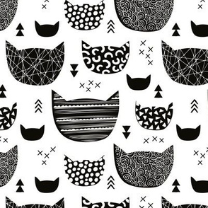 Inky texture kittens and cats fun print with geometric abstract details black and white