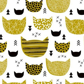 Inky texture kittens and cats fun print with geometric abstract details gender neutral ochre