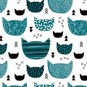 Inky texture kittens and cats fun print with geometric abstract details teal boys