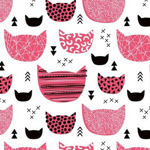 Inky texture kittens and cats fun print with geometric abstract details pink girls