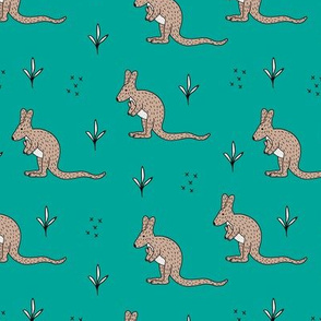 Sweet kangaroo mom and baby down under collection baby teal
