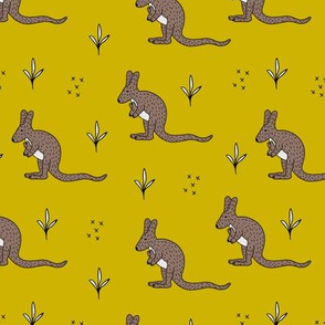 Sweet kangaroo mom and baby down under collection gender neutral ochre