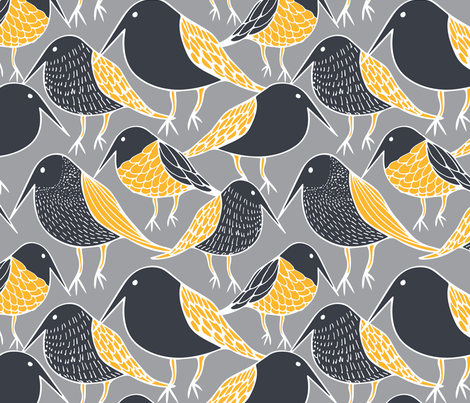 Black Birds fabric - kirstenkatz - Spoonflower