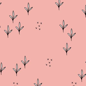 Abstract garden plants and grass botanical design Scandinavian fall winter baby pink