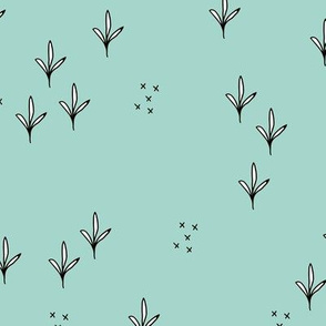 Abstract garden plants and grass botanical design Scandinavian fall winter mint