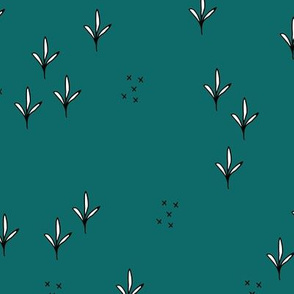 Abstract garden plants and grass botanical design Scandinavian fall winter teal
