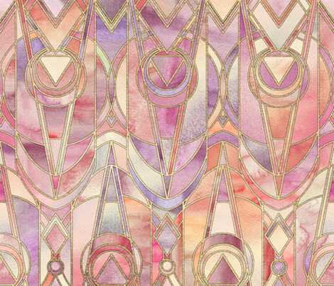 Glowing Coral and Amethyst Art Deco - large fabric by micklyn on Spoonflower - custom fabric