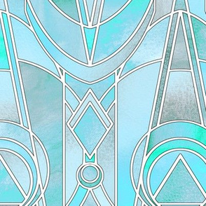 Iridescent Turquoise Art Deco - large