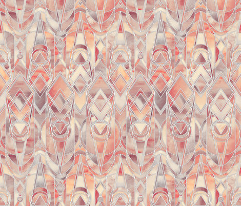 Melon and Peach Art Deco with white lines - small print fabric by micklyn on Spoonflower - custom fabric
