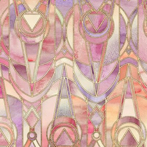 Glowing Coral and Amethyst Art Deco - small print