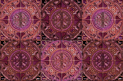 MANDALA TILES CHECK PINK GOLD COOPER BURGUNDY fabric by paysmage on Spoonflower - custom fabric