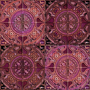 MANDALA TILES CHECK PINK GOLD COOPER BURGUNDY