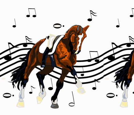 dressage freestyle runner - bay on transparent back ground fabric by dres2ride on Spoonflower - custom fabric
