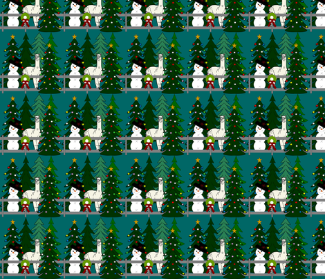 Alpaca Christmas 2016 Fabric Teal fabric by lworiginals on Spoonflower - custom fabric