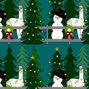 Alpaca Christmas 2016 Fabric Teal