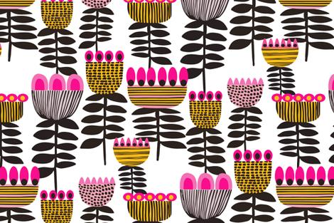 Pink Mid Century Tulips fabric by kirstenkatz on Spoonflower - custom fabric