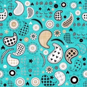 Paisley flowers  pattern 4 colors