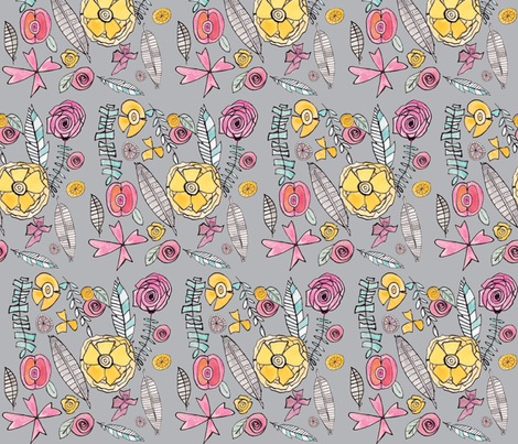 Watercolor Flower Doodles in Gray fabric by alchemyhome on Spoonflower - custom fabric