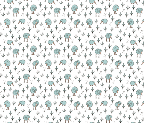 Cool kiwi birds quirky animals from New Zealand mint fabric by littlesmilemakers on Spoonflower - custom fabric