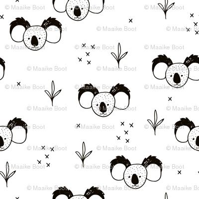 Sweet baby koala bears fun kids animals with geometric detailing black and white