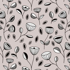 Winter fall flowers and leaf design Scandinavian style botanical garden beige