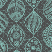 Lace Leaves - CA Turquoise /Grey